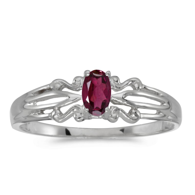 Color Merchants 14k White Gold Oval Rhodolite Garnet Ring