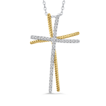 1/5 Ct Diamond Cross Pendant with Chain