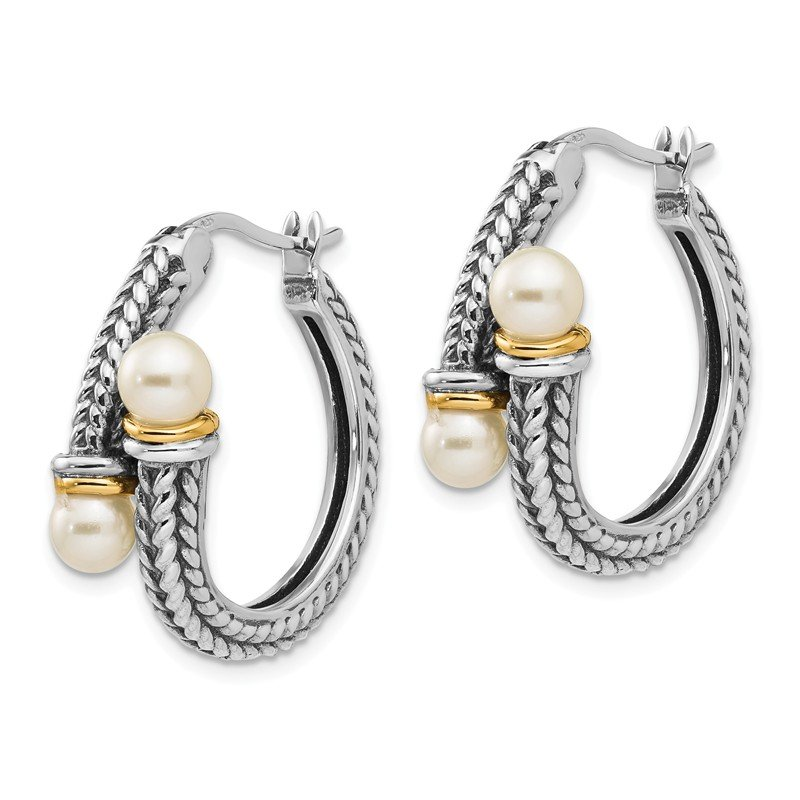 Shey Couture Sterling Silver w/ 14k 4mm FW Cultured Pearl Hoop Earrings