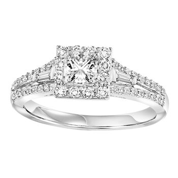 14K Diamond Engagement Ring 1/2 ctw With 3/8 Ct Center