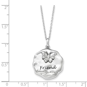 Sterling Silver Antiqued My Friend 18in. Necklace