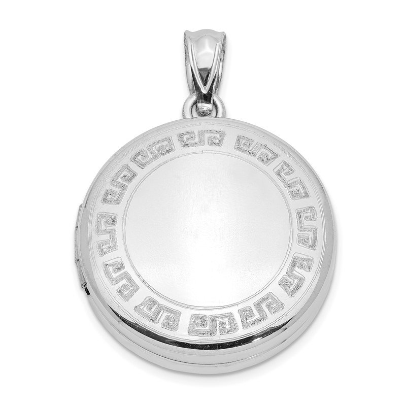 Quality Gold Sterling Silver 20mm Polished Etched Design Round Locket