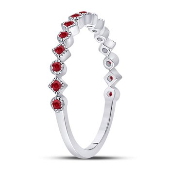 10kt White Gold Womens Round Ruby Square Dot Stackable Band Ring 1/5 Cttw