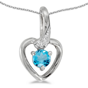 10k White Gold Round Blue Topaz And Diamond Heart Pendant