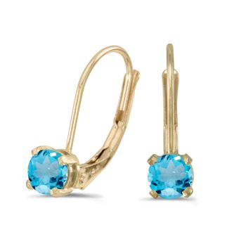 14k Yellow Gold Round Blue Topaz Lever-back Earrings