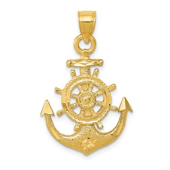 14k Satin Diamond-cut Anchor Pendant