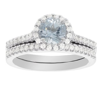 14k White Gold Aquamarine and 2/5ct TDW Diamond Halo Bridal Set