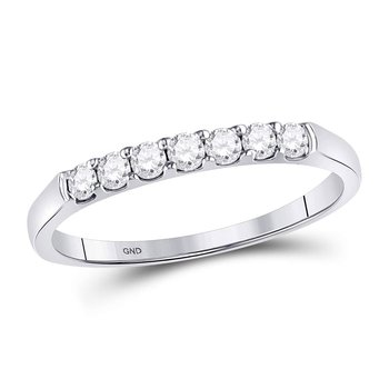 14kt White Gold Womens Round Diamond Single Row Wedding Band 1/4 Cttw