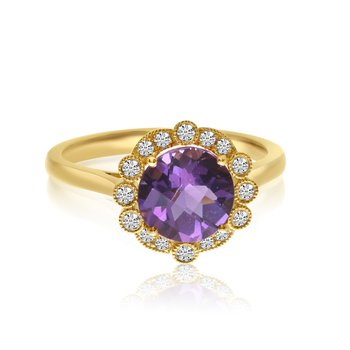 14K Yellow Gold Amethyst Beaded Halo Diamond Ring