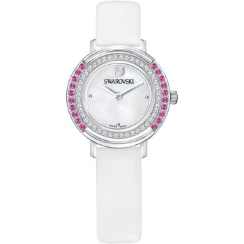 Playful Mini Watch, Leather strap, White, Silver tone