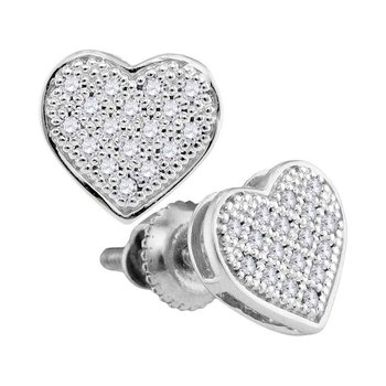 10kt White Gold Womens Round Diamond Heart Cluster Stud Earrings 1/10 Cttw