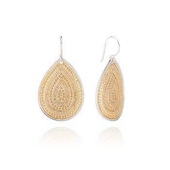 Large Dotted Teardrop Earrings - Gold