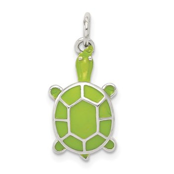 Sterling Silver Rhodium-plated Green Enameled Turtle Pendant