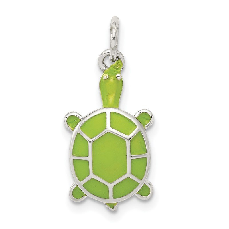 Quality Gold Sterling Silver Rhodium-plated Green Enameled Turtle Pendant