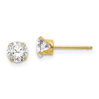14k Madi K 5mm CZ Post Earrings