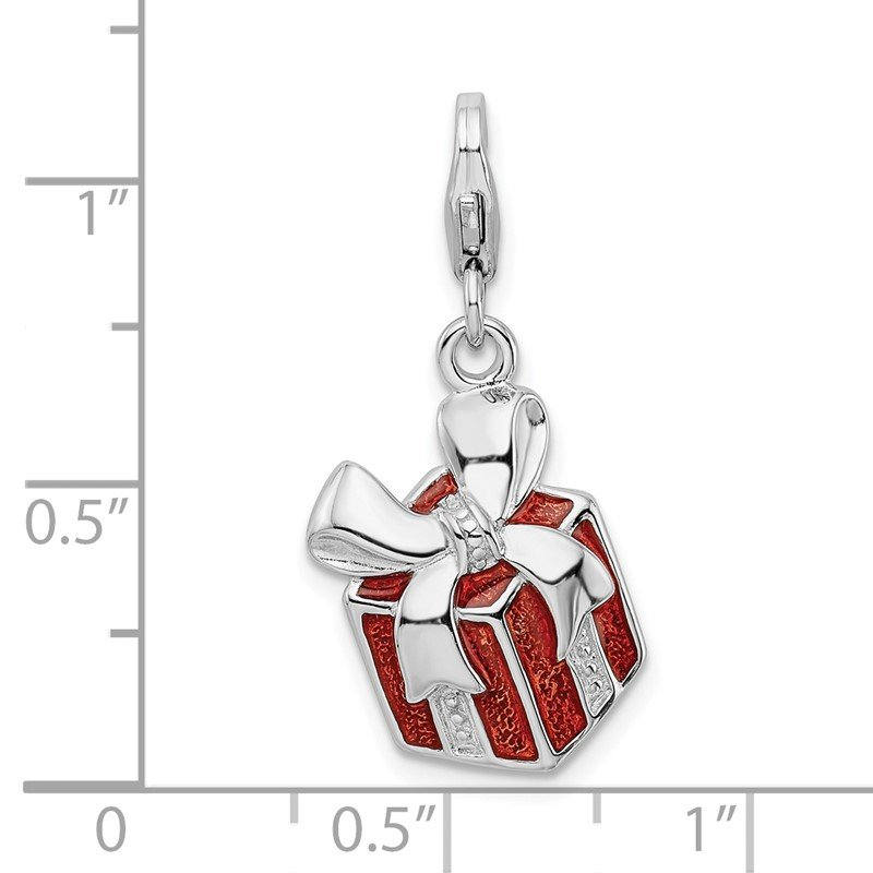 Quality Gold Sterling Silver Amore La Vita Rhodium-plated Red Enameled Present Charm