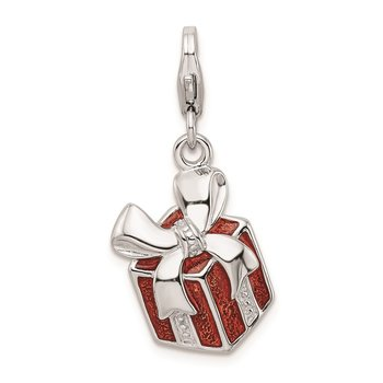 Sterling Silver Amore La Vita Rhodium-plated Red Enameled Present Charm