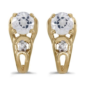 10k Yellow Gold Round White Topaz And Diamond Earrings