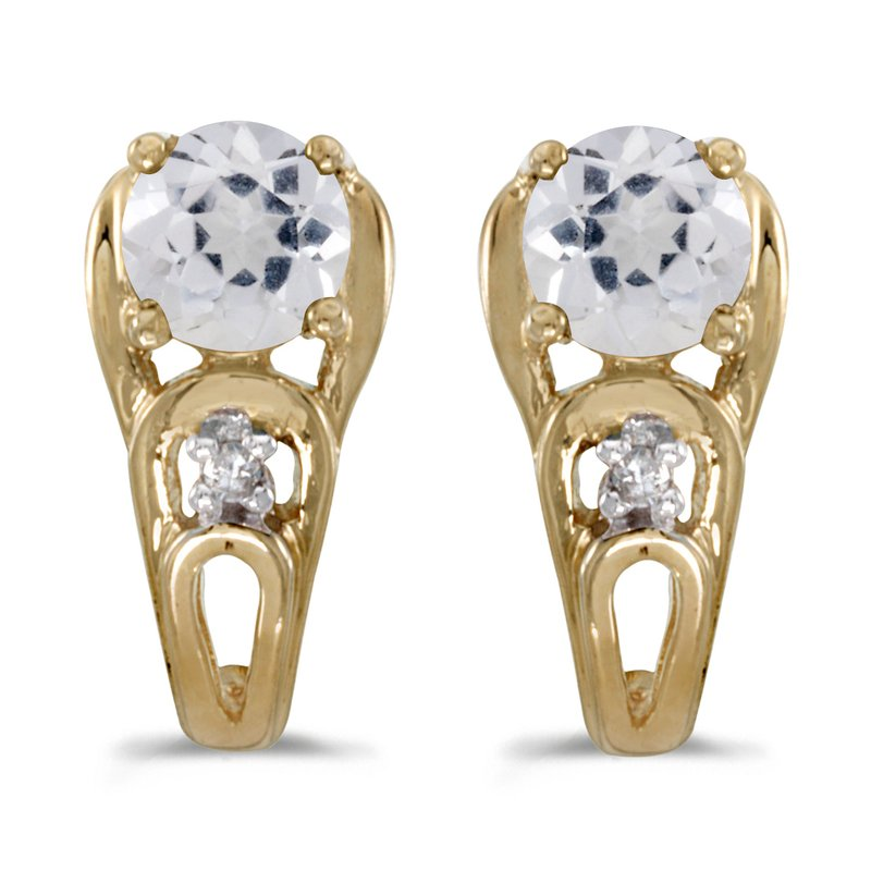 Color Merchants 10k Yellow Gold Round White Topaz And Diamond Earrings