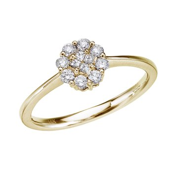 14k Yellow Gold .34 Ct Diamond Cluster Ring
