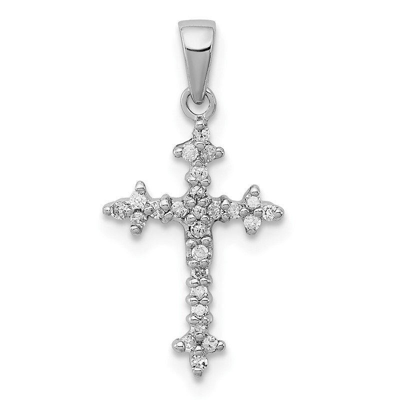 Quality Gold Sterling Silver Rhodium Diamond Cross Pendant