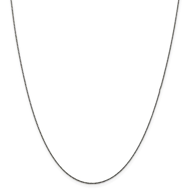 Quality Gold Sterling Silver Ruthenium-plated .75mm Twisted Tight Wheat Chain