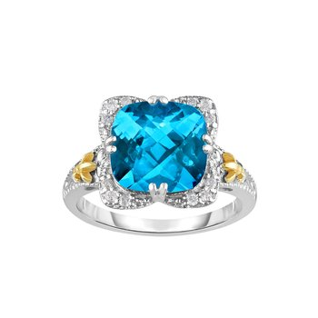 Silver & 18K Cushion Light Swiss Blue Topaz Gem Candy Ring