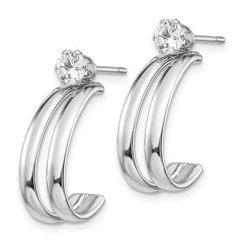 14K White Gold Polished w/CZ Stud Earring Jackets