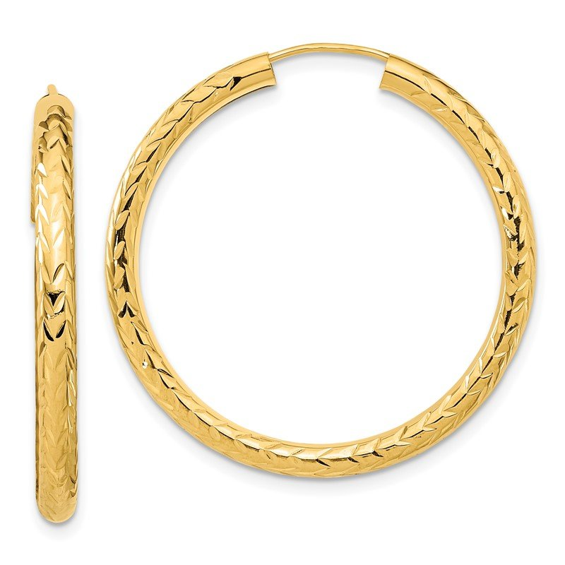 Quality Gold 14k Polished & D/C Endless Hoop Earrings