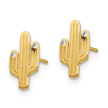 14K Cactus CZ Stud Earrings