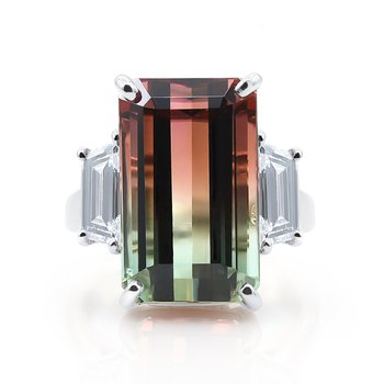 Platinum 14.12ct Bi-Color Tourmaline Ring