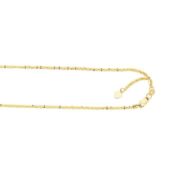 10K Gold 1.5mm Adjustable Sparkle Chain