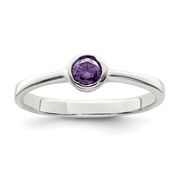 Sterling Silver Purple Round Bezel CZ Ring
