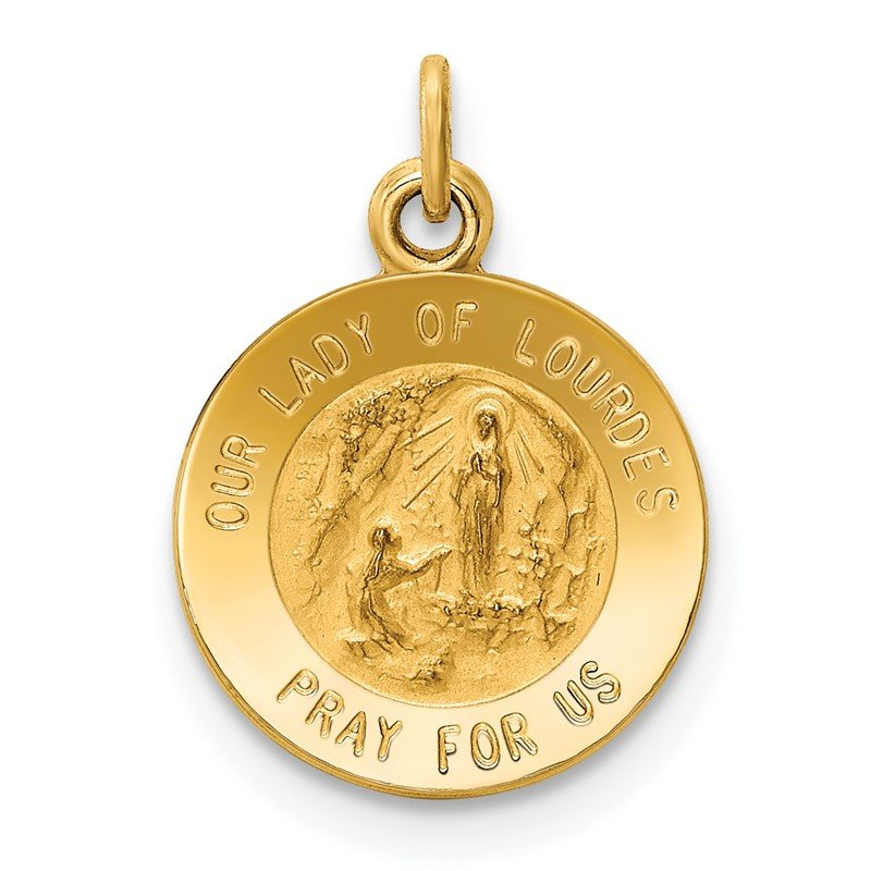 Quality Gold 14k Our Lady of Lourdes Medal Charm
