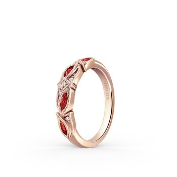 Ruby Milgrain Diamond Milgrain Wedding Band