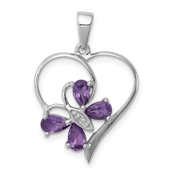 Sterling Silver Rhodium Amethyst & Diamond Butterfly Heart Pendant