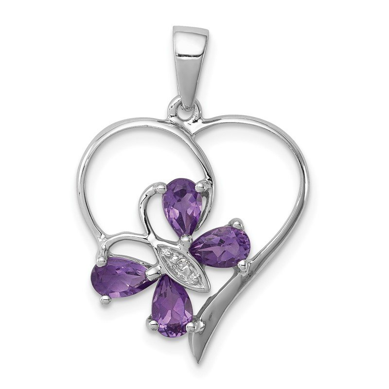 Quality Gold Sterling Silver Rhodium Amethyst & Diamond Butterfly Heart Pendant