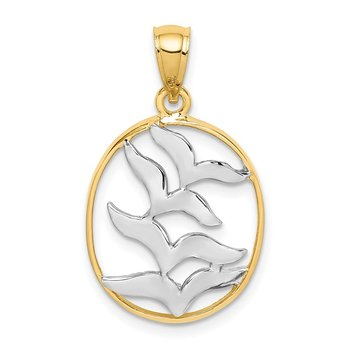 14K and White Rhodium Polished Birds Pendant
