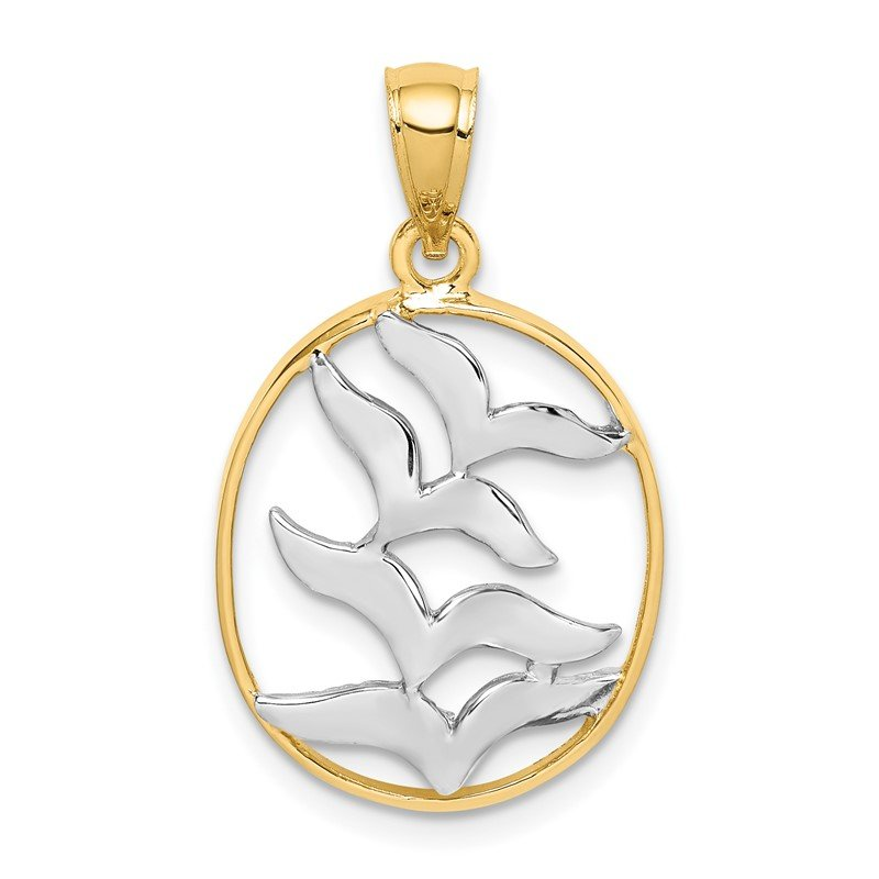 Quality Gold 14K and White Rhodium Polished Birds Pendant