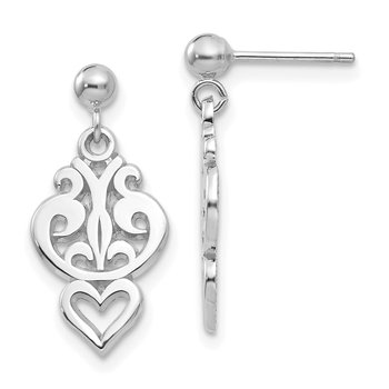 14k White Gold Filigree Heart Dangle Earrings