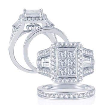 14K  2.90Ct  Diamond Bridal Set