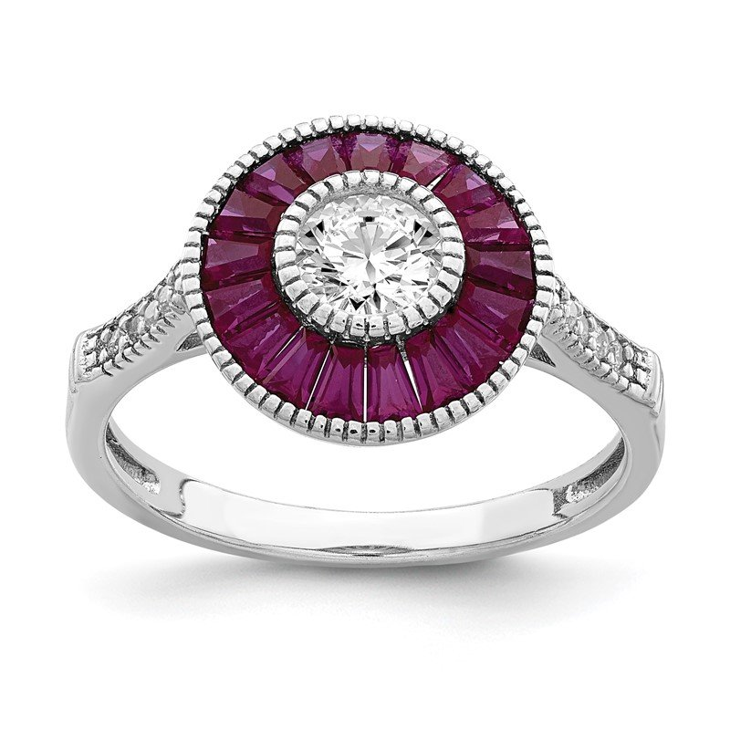 Quality Gold Sterling Silver Rhodium-plated Polished Created Ruby and CZ Ring