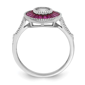 Sterling Silver Rhodium-plated Polished Created Ruby and CZ Ring