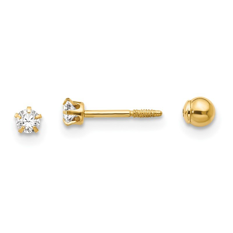 Quality Gold 14k Madi K Polished Reversible Crystal & 3mm Ball Earrings