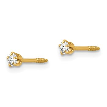14k Madi K Polished Reversible Crystal & 3mm Ball Earrings
