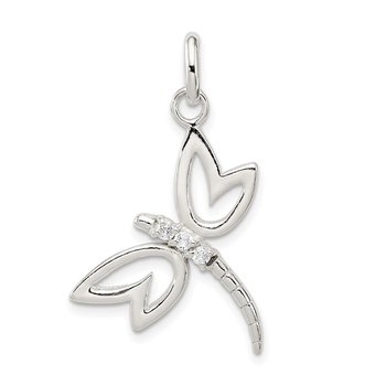 Sterling Silver With CZ Dragonfly Pendant