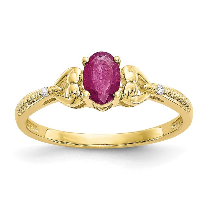 Quality Gold 10K Ruby and Diamond Ring