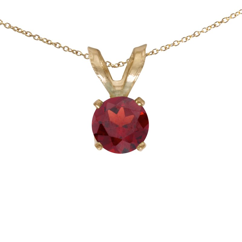 Color Merchants 14k Yellow Gold Round Garnet Pendant