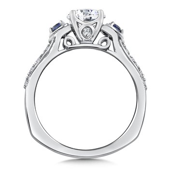Diamond & Blue Sapphire Engagement Ring Mounting in 14K White/Rose Gold (.20 ct. tw.)