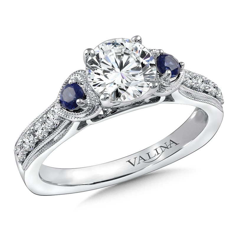 Valina Bridals Diamond & Blue Sapphire Engagement Ring Mounting in 14K White/Rose Gold (.20 ct. tw.)
